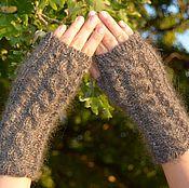 Аксессуары handmade. Livemaster - original item Down-filled mitts, knitted from 100% goat fluff