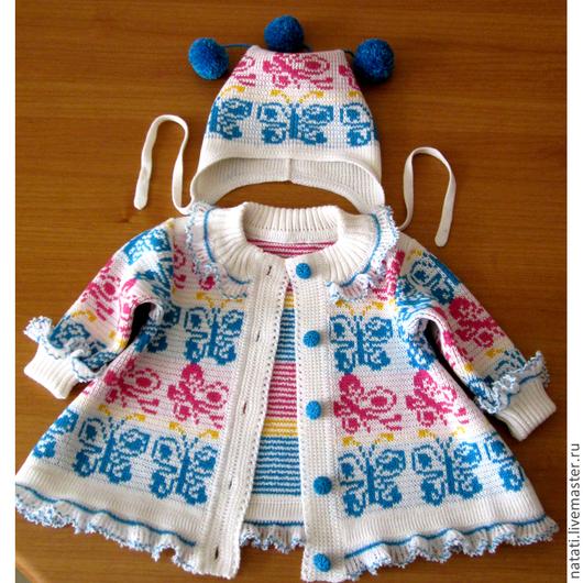 Одежда для девочек, ручной работы. Ярмарка Мастеров - ручная работа. Купить Платье-пальто и шапочка. Handmade. Разноцветный, Жаккардовый узор