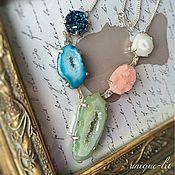 Украшения handmade. Livemaster - original item Delicate Necklace with Druze agate and Quartz. Handmade.