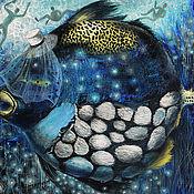 """Картины и панно ручной работы. Ярмарка Мастеров - ручная работа Картина рыбы маслом """"Вуаля"""". Handmade."""