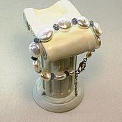 Украшения ручной работы. Ярмарка Мастеров - ручная работа Браслет  с  барочным  жемчугом и водным  сапфиром. Handmade.