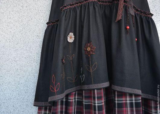 """Юбки ручной работы. Ярмарка Мастеров - ручная работа. Купить Юбка в пол """"Кантри"""". Handmade. Черный, юбка джинсовая, джинс"""