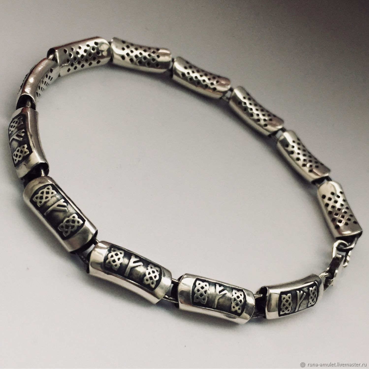Bracelet with the rune Fehu, silver handmade, Amulet, Moscow,  Фото №1