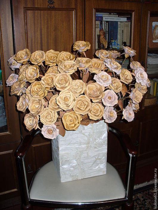Искусственные растения ручной работы. Ярмарка Мастеров - ручная работа. Купить розы из бересты. Handmade. Береста, букет в подарок