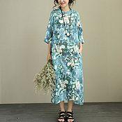 Одежда handmade. Livemaster - original item Blue dress big size. Handmade.