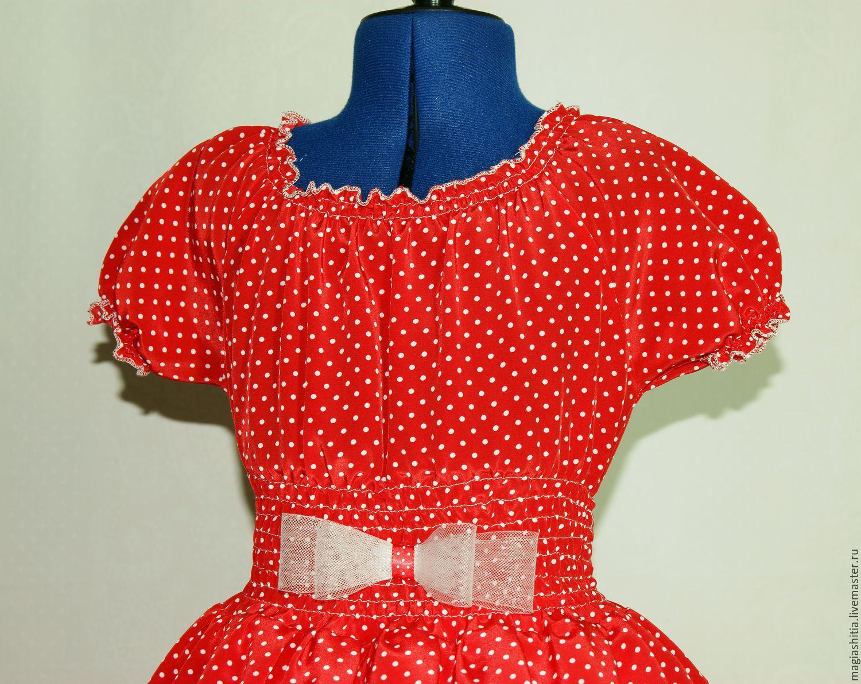 Платье красное в горох детское