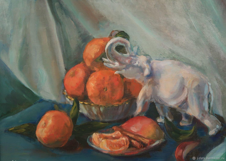 Счастливый слоник с мандаринами  Натюрморт, Картины, Москва,  Фото №1