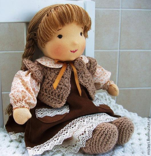 Человечки ручной работы. Ярмарка Мастеров - ручная работа. Купить Текстильная кукла Дуняша, 33 см.. Handmade. Коричневый