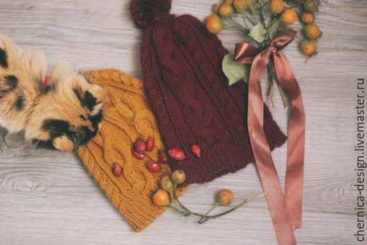 Шапки ручной работы. Ярмарка Мастеров - ручная работа. Купить Вязаная шапка. Handmade. Бордовый, шапка, марсала