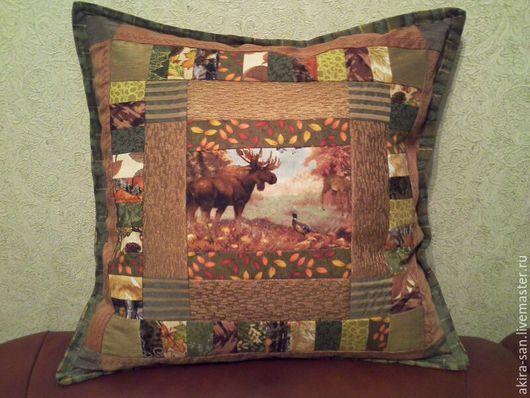 Текстиль, ковры ручной работы. Ярмарка Мастеров - ручная работа. Купить Лоскутная  подушка Лесные тропы. Handmade. Подушка в подарок