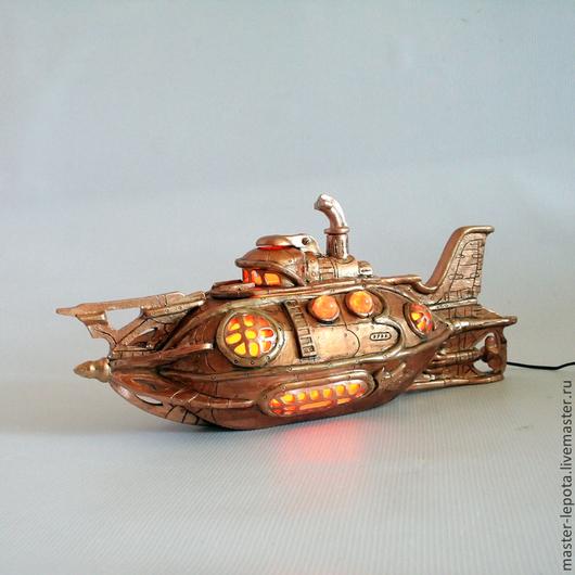 """Освещение ручной работы. Ярмарка Мастеров - ручная работа. Купить Подлодка """"Дриль"""".Ночник. Handmade. Подводная лодка, ночник, фэнтези"""