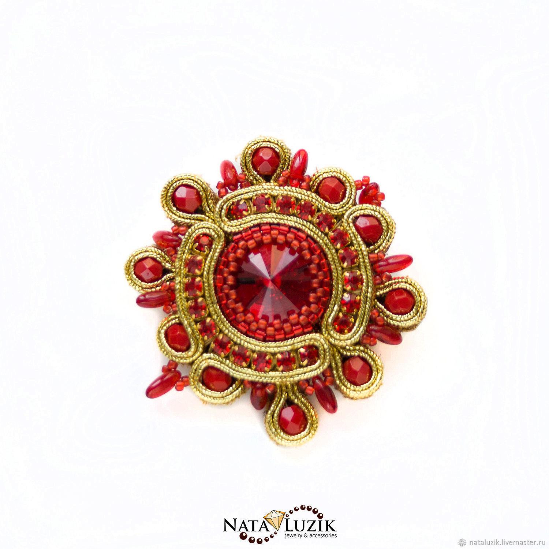 Soutache brooch gold red Swarovski `Baroque`