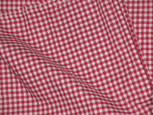 Винтажные предметы интерьера. Ярмарка Мастеров - ручная работа. Купить винтажный хлопок в красно-белую клетку. Handmade. Ярко-красный