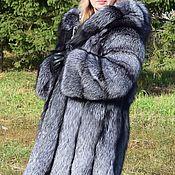 Одежда ручной работы. Ярмарка Мастеров - ручная работа Шуба  из меха черно-бурой лисы, трапеция с капюшоном.. Handmade.