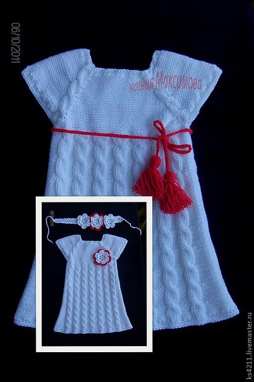 """Одежда для девочек, ручной работы. Ярмарка Мастеров - ручная работа. Купить сарафан """"Барыня"""" вязаный спицами. Handmade. Белый"""