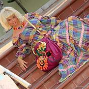 """Платья ручной работы. Ярмарка Мастеров - ручная работа Платье """"разноцветная клетка"""" из поплина с жаккардовой тесьмой этно. Handmade."""