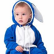 Работы для детей, handmade. Livemaster - original item Romper baby Rabbit Blue FUNKY BLUE BUNNY HOMESUIT KIDS. Handmade.