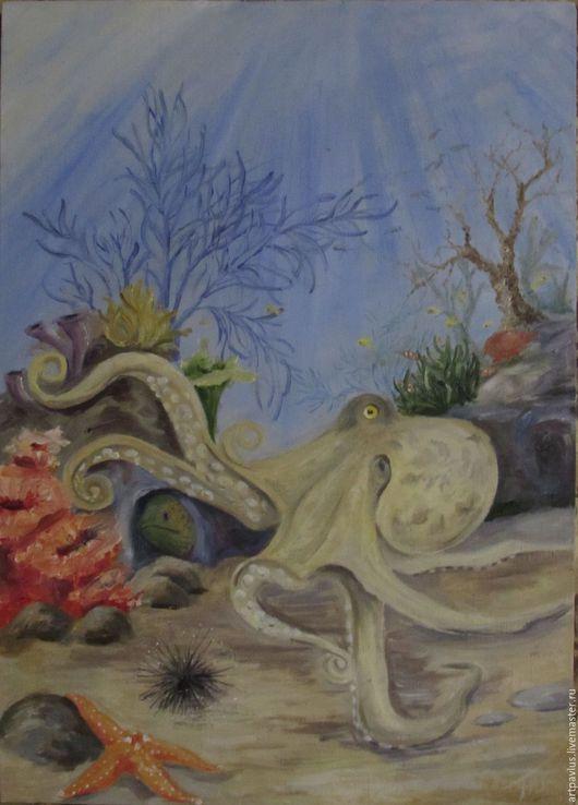 """Животные ручной работы. Ярмарка Мастеров - ручная работа. Купить картина """"Подводный натюрморт"""". Handmade. Голубой, морская тематика, осминог"""