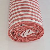 Материалы для творчества handmade. Livemaster - original item 100% Belarusian magpie linen coral stripe. Handmade.