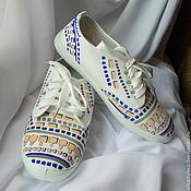 """Обувь ручной работы. Ярмарка Мастеров - ручная работа Кеды женские  """"Геометрия"""", кеды с рисунком, роспись кед.. Handmade."""
