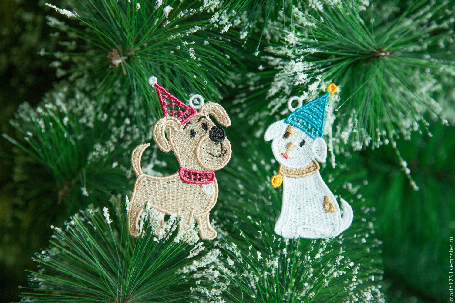Buy Dog 2018 caps 1 A set of Christmas ornaments on Livemaster
