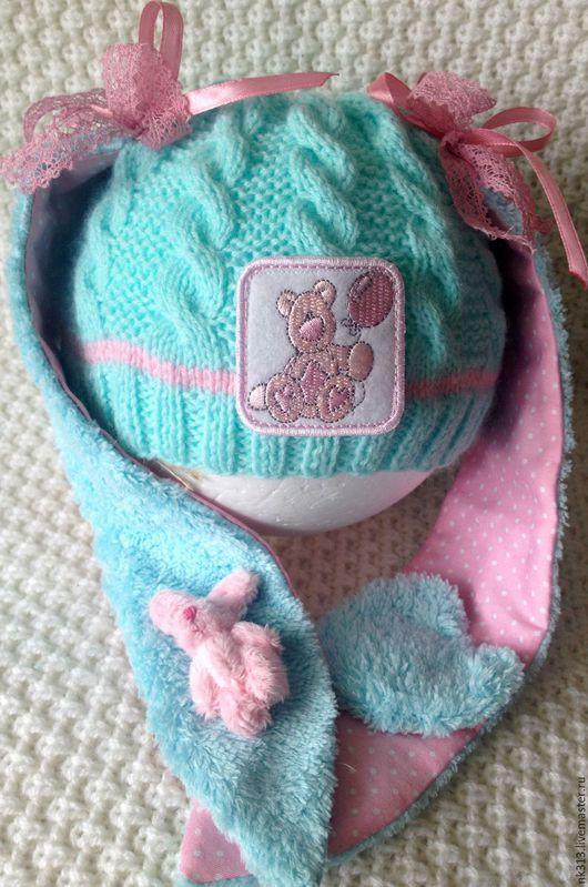 """Для новорожденных, ручной работы. Ярмарка Мастеров - ручная работа. Купить Шапочка для новорожденного """"Мамина Зая"""". Handmade. Бирюзовый"""