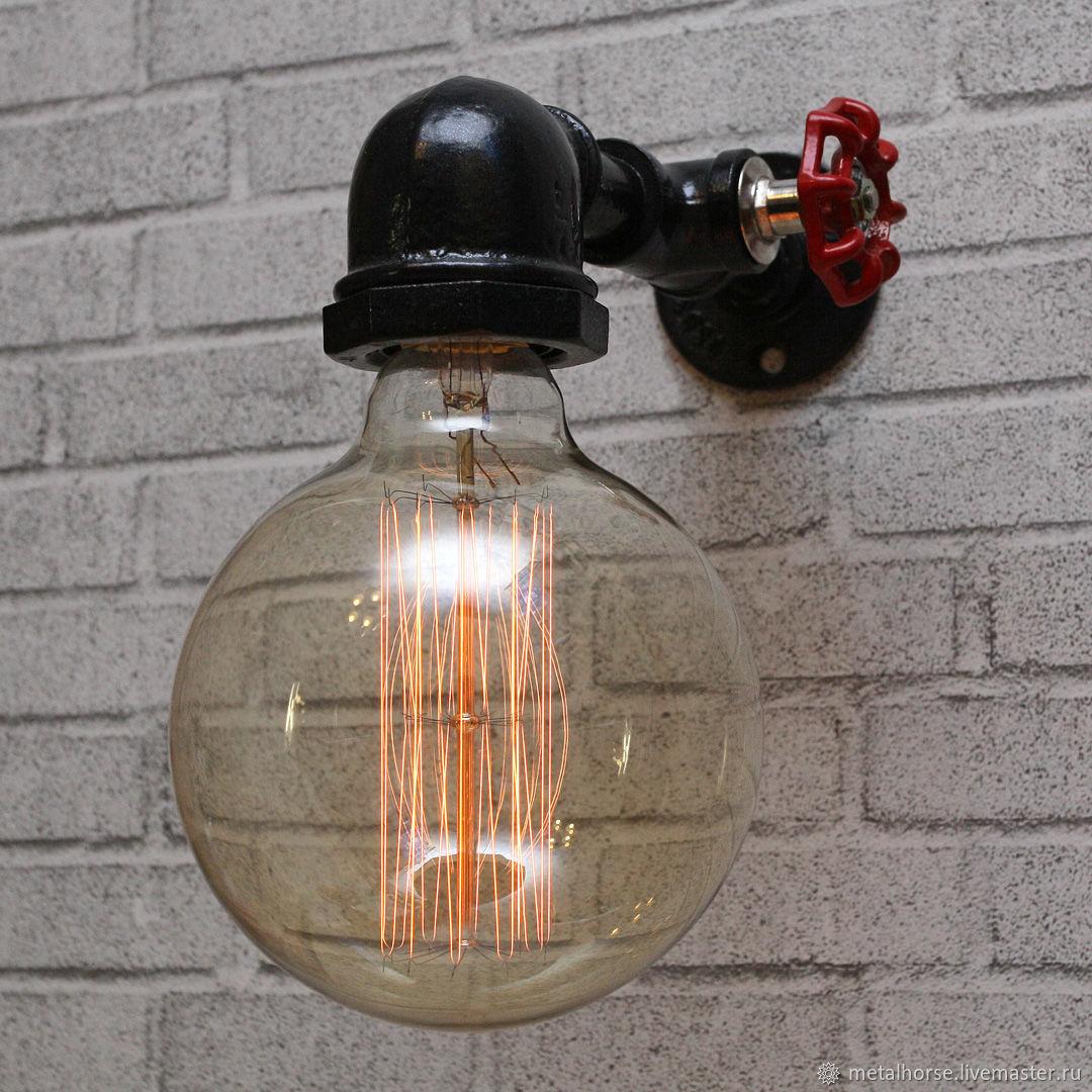 Светильник, лампа в стиле лофт, индастриал, стимпанк, Настенные светильники, Москва,  Фото №1
