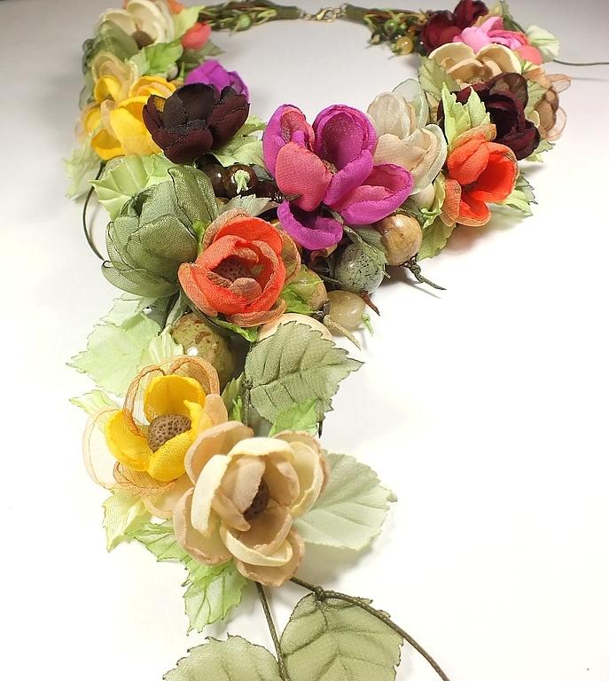 Autumn pastoral. Necklaces, fabric flowers, Necklace, St. Petersburg,  Фото №1