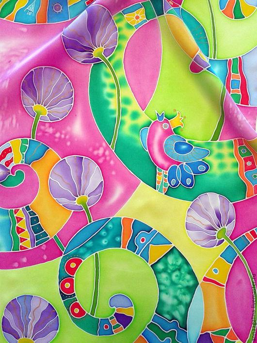 """Шарфы и шарфики ручной работы. Ярмарка Мастеров - ручная работа. Купить Шелковый шарф """"ЛЕТО!""""  Батик.. Handmade. Комбинированный, розовый"""