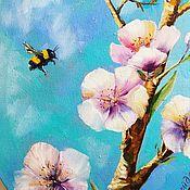 Картины и панно ручной работы. Ярмарка Мастеров - ручная работа Картина маслом Пчела и цветок. Handmade.