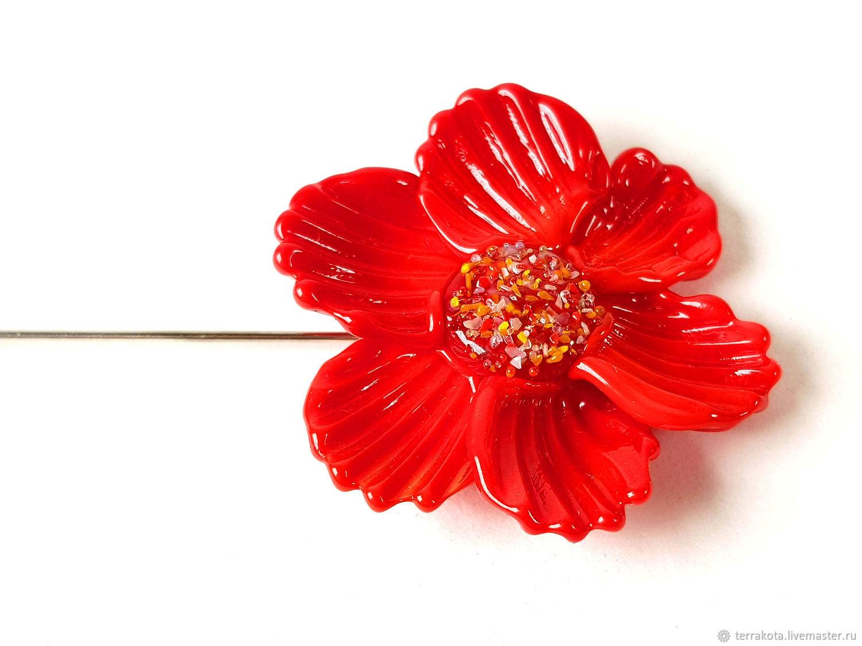 Брошь - шпилька «Алый цветок» лэмпворк, Брошь-булавка, Челябинск,  Фото №1