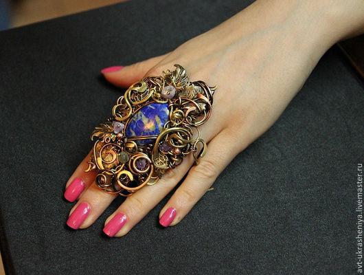Кольца ручной работы. Ярмарка Мастеров - ручная работа. Купить Кольцо МАКСИ винтажный стиль. Handmade. Синий, огромное кольцо