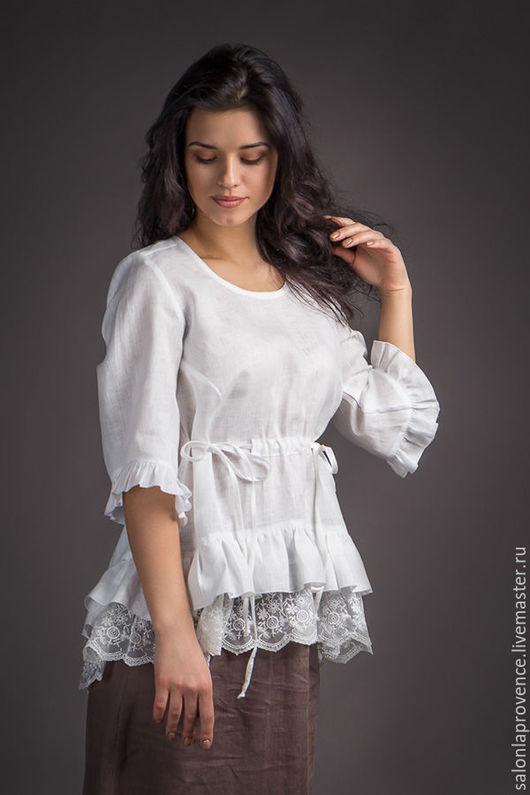 Блузки ручной работы. Ярмарка Мастеров - ручная работа. Купить Блузка льняная с рукавом 3/4. Handmade. Белый, лён 100%