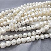 Материалы для творчества handmade. Livemaster - original item 1/2 strand Pearl Natural approx. 6-7h7-8 mm white (5261). Handmade.