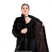Одежда ручной работы. Ярмарка Мастеров - ручная работа Шуба норковая 90 см махагон поперечка. Handmade.