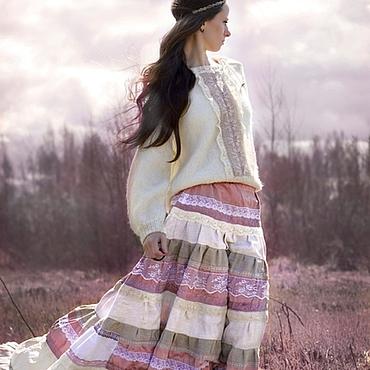 Одежда ручной работы. Ярмарка Мастеров - ручная работа Длинная юбка бохо Pink shade. Handmade.