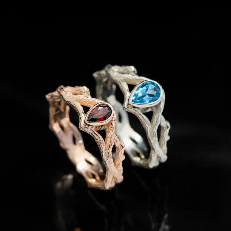 Кольцо Ветка с камнем, белое или красное золото 585, гранат или топаз, Кольца, Санкт-Петербург,  Фото №1