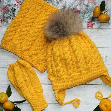 Works for children handmade. Livemaster - original item Children`s knitted winter set. Handmade.