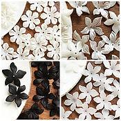 Бусины ручной работы. Ярмарка Мастеров - ручная работа Бусины шапочка цветок, белый цветок, черный цветок, цветы из акрила. Handmade.