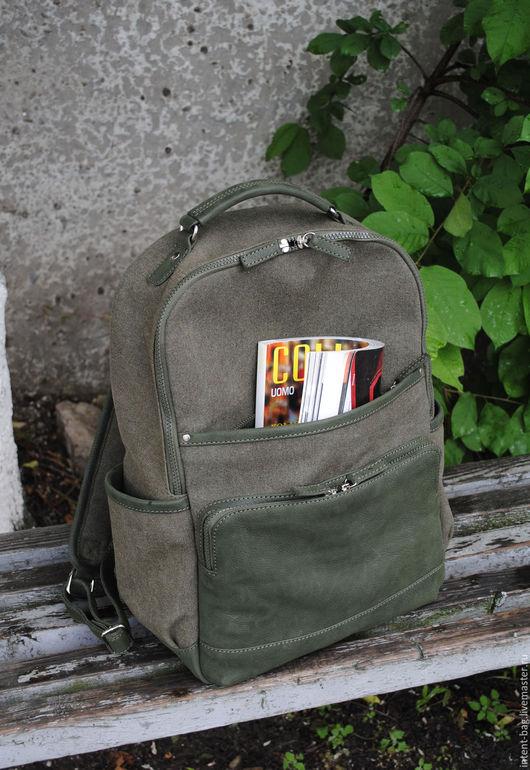 Рюкзаки ручной работы. Ярмарка Мастеров - ручная работа. Купить Z006CC. Handmade. Хаки, кожаный рюкзак, унисекс