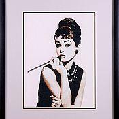 Panels handmade. Livemaster - original item Cross stitch Audrey Hepburn. Handmade.