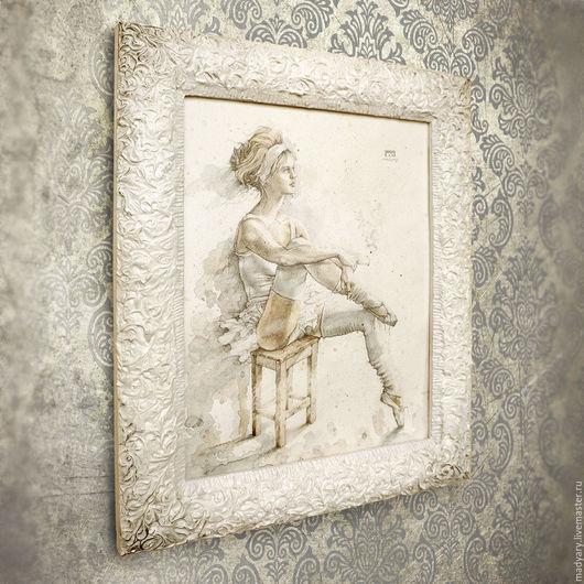 (купить картину, картина акварелью картина в подарок женщине, картина в багете белоснежная балерина танцовщица серебристая) madyary.livemaster.ru - авторские картины для интерьера, магазин картин.
