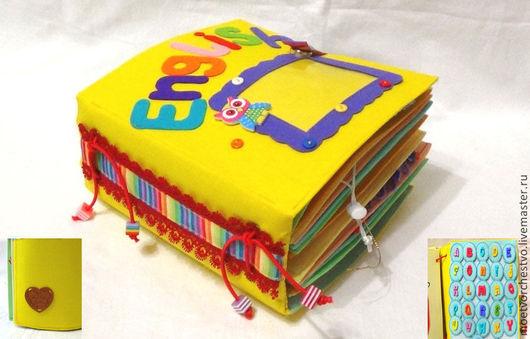 """Развивающие игрушки ручной работы. Ярмарка Мастеров - ручная работа. Купить Развивающая книжка  """"Английский"""" в заданиях. Handmade. Разноцветный"""
