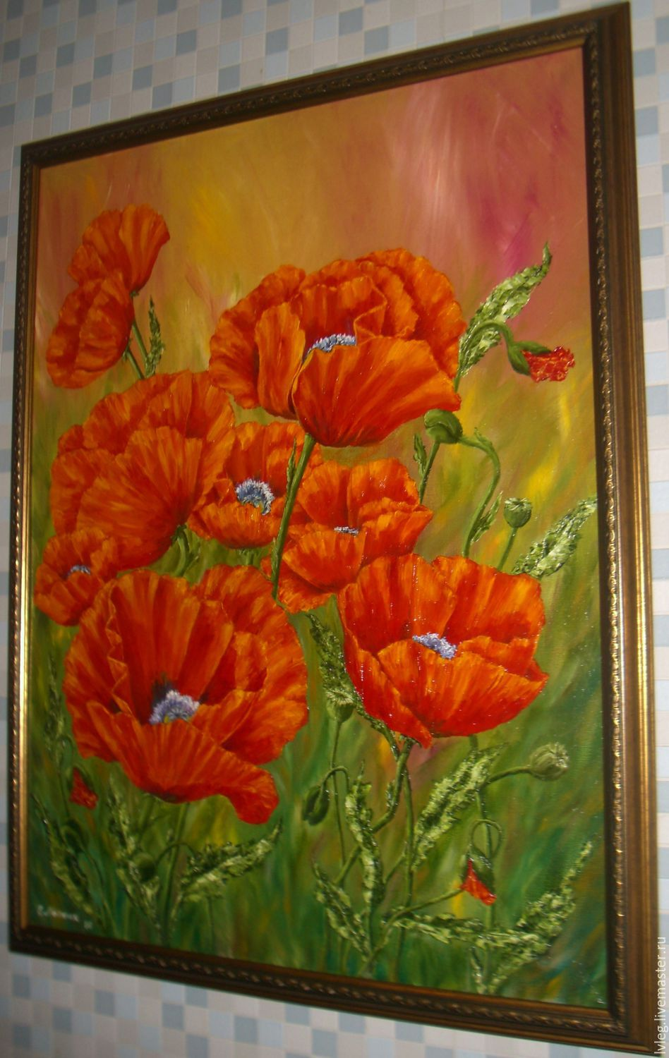 Oil painting bright poppies canvas poppies flowers shop online flower painting handmade livemaster handmade buy oil painting bright poppies mightylinksfo Image collections