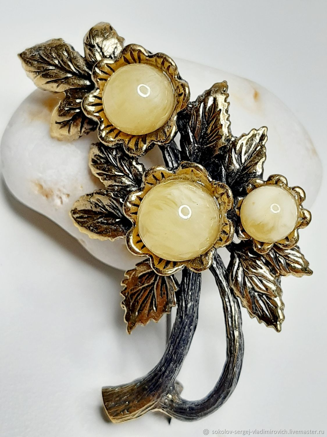 The Brooch Is A Sprig Of Cherry, Brooches, Moscow,  Фото №1