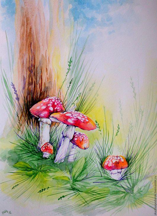"""Пейзаж ручной работы. Ярмарка Мастеров - ручная работа. Купить картина """"Мухоморчики"""". Handmade. Лето, грибы, лес"""
