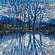 Купить осенний пейзаж с водой Отражение в воде картина Озеро деревня горы Горный пейзаж маслом на холсте