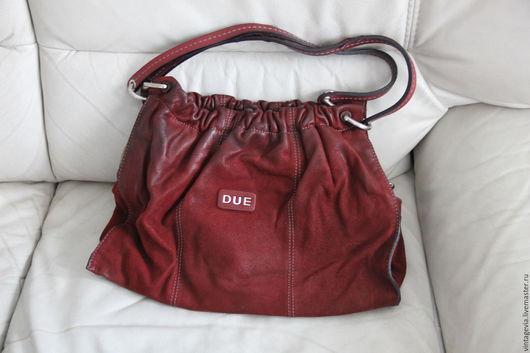 Vintage Via. Винтажная фирменная сумка `TENTAZIONE DUE`, натуральная кожа, Италия, прошлый век