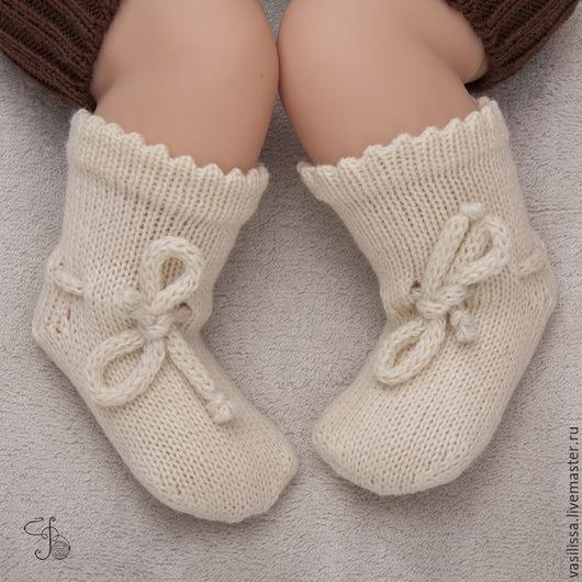 Носки, гольфы, гетры ручной работы. Ярмарка Мастеров - ручная работа. Купить Носочки детские шерстяные с завязочками. Handmade.