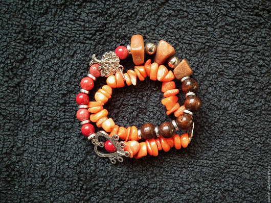 Браслеты ручной работы. Ярмарка Мастеров - ручная работа. Купить Нестандартный браслет - натуральные камни и дерево / IVgvn7. Handmade.